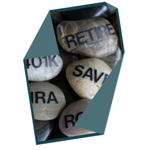 stones with retire 401k and ira labels