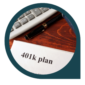 401k plan paper on desk with calculator and pen