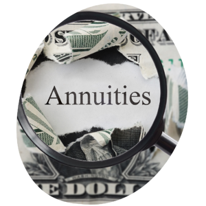 dollar that says annuity with magnifying glass